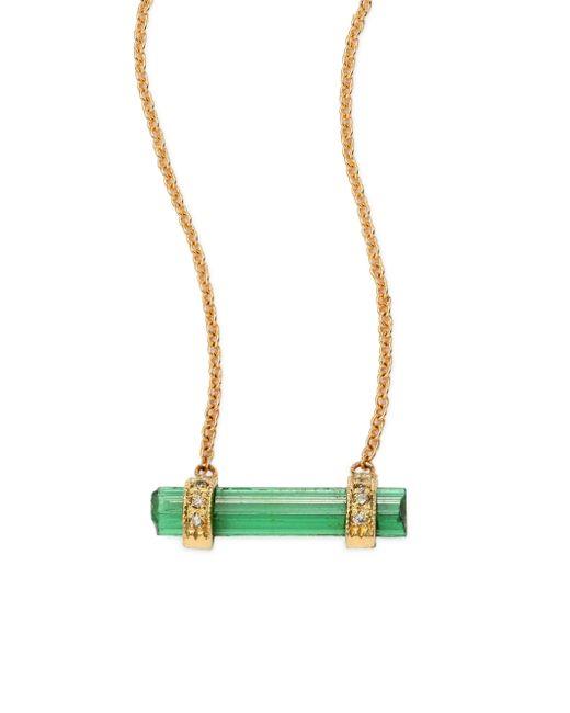 Jacquie Aiche | Metallic Diamond, Green Tourmaline & 14k Yellow Gold Bar Pendant Necklace | Lyst