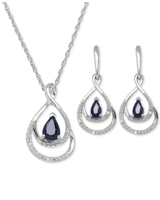 Macy's | Blue Sapphire (1-2/3 Ct. T.w.) And Diamond Accent Jewelry Set In Sterling Silver | Lyst