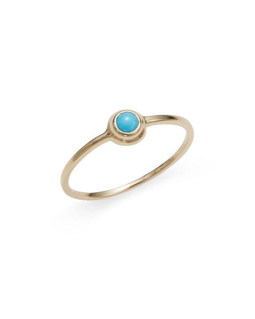 Anzie | Blue Classique Turquoise & 14k Yellow Gold Ring | Lyst