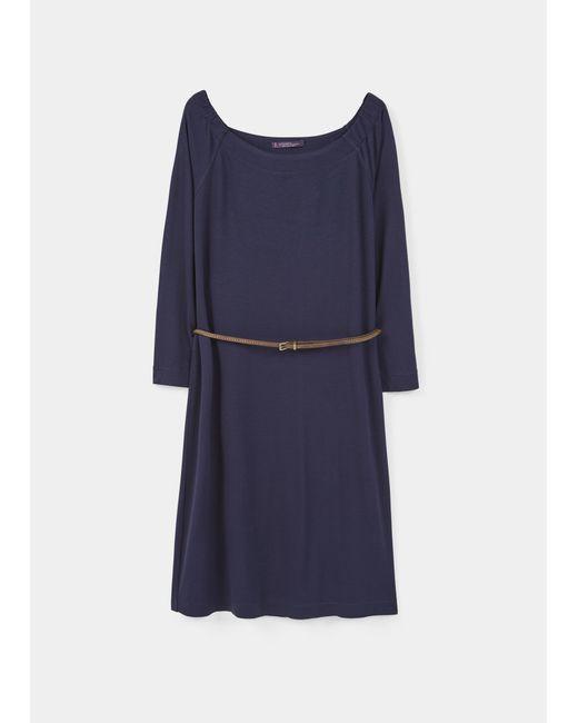 violeta by mango belt dress in blue ink blue