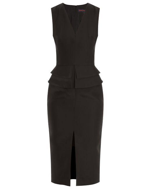 Martin Grant | Black V Neck Basque Peplum Dress | Lyst
