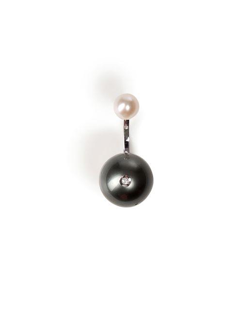 Delfina Delettrez | 18kt Yellow Gold Piercing Earring With Pearls - Black | Lyst