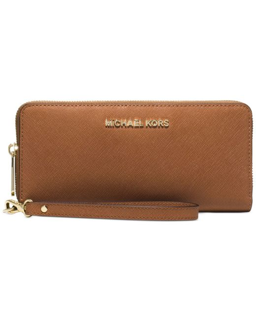 Michael Kors | Brown Michael Jet Set Travel Continental Wallet | Lyst