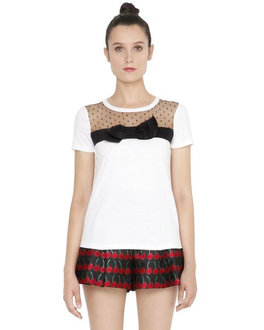 Red valentino cotton jersey swiss dot tulle t shirt in for Red valentino t shirt