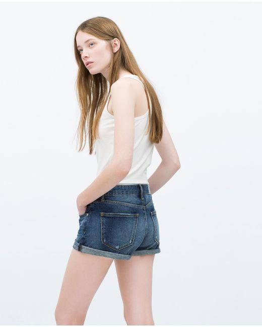 Zara   Blue Body Curve Denim Shorts   Lyst