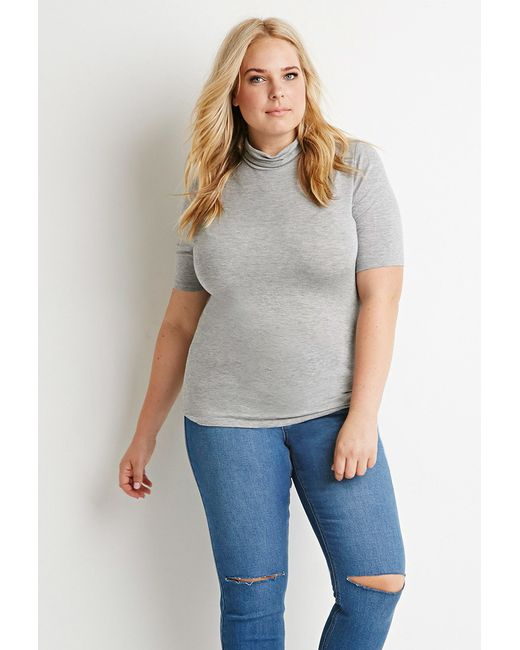 Forever 21 | Gray Plus Size Slouchy Mock Neck Tee | Lyst