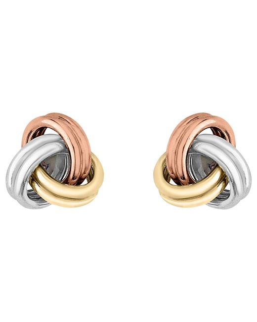 Ib&b | Yellow 9ct 3 Colour Gold Knot Stud Earrings | Lyst