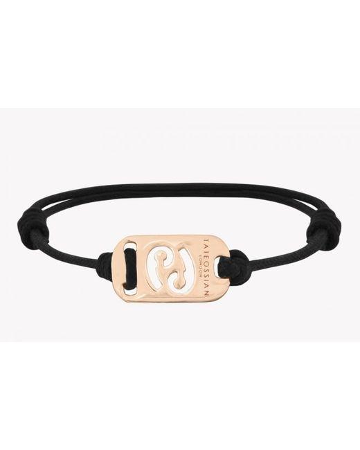 Tateossian | Zodiac 18k Yellow Gold Cancer Black Waxed Cord Bracelet for Men | Lyst