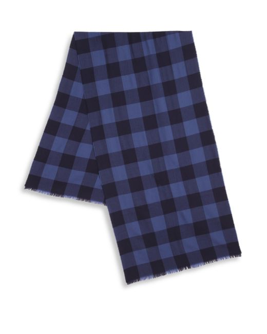 Saks Fifth Avenue | Blue Check Print Merino Wool Scarf for Men | Lyst