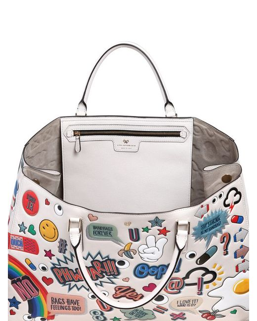 lyst anya hindmarch sticker tote bag in white save 23. Black Bedroom Furniture Sets. Home Design Ideas