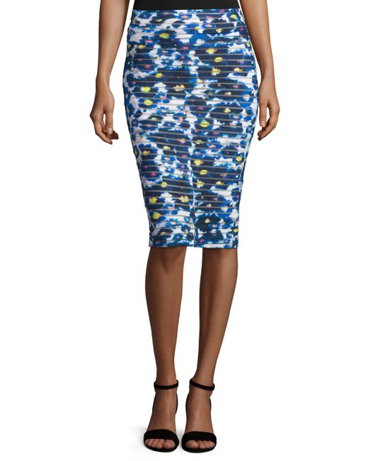 fuzzi floral print midi pencil skirt in floral ness