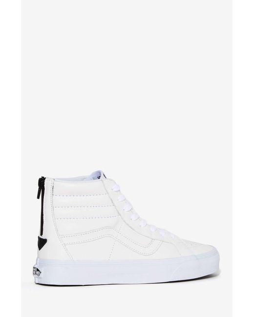 Vans | Vans Sk8-hi Reissue Zip Leather Sneaker - White | Lyst