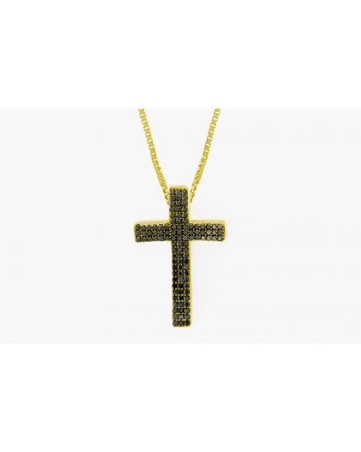 Tateossian | Precious Cross Micro Pavé Necklace In 18k Yellow Gold With 105 0.35ct Black Diamonds for Men | Lyst