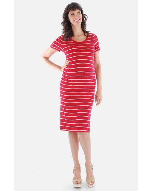 Everly Grey | Red 'camila' Stripe Maternity Dress | Lyst