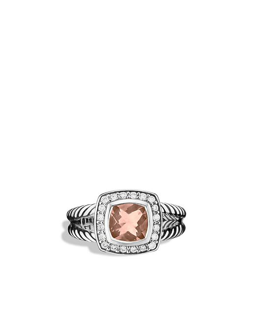 David Yurman | Metallic Petite Albion Ring With Morganite And Diamonds | Lyst