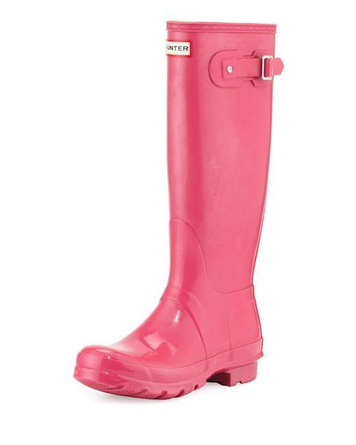 Hunter Original Tall Gloss Rain Boot in Pink | Lyst