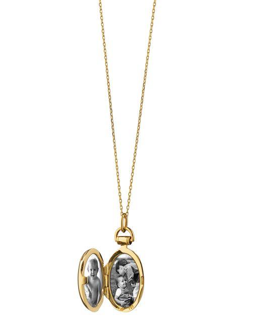 Monica Rich Kosann | Metallic Petite Diamond Star Oval Locket Necklace | Lyst