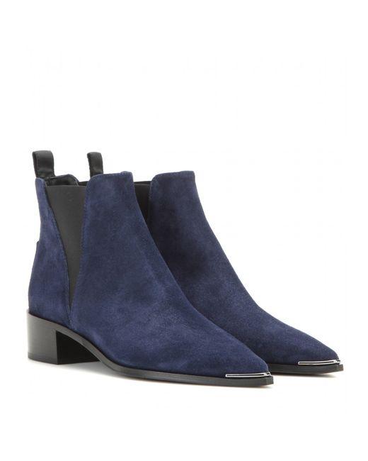 acne jensen suede ankle boots in blue lyst. Black Bedroom Furniture Sets. Home Design Ideas