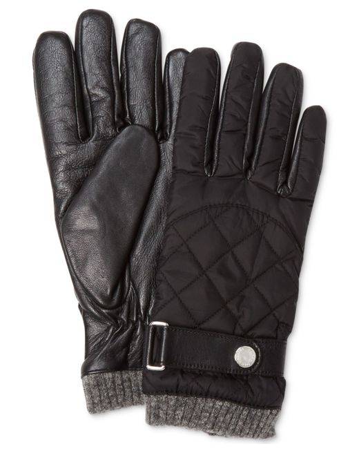 Polo Ralph Lauren Quilted Nylon Field Gloves In Black For