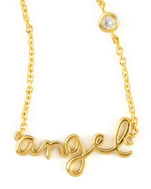 Shy By Sydney Evan | Metallic Angel Word Diamond-detail Gold-plate Necklace | Lyst