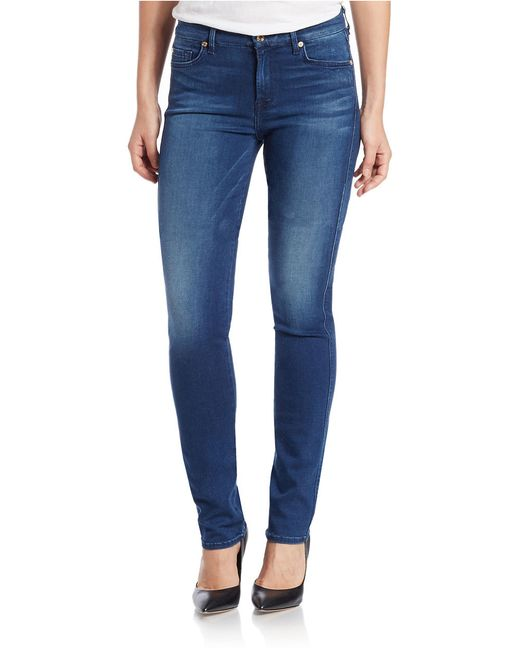 7 For All Mankind | Blue Skinny Jeans | Lyst