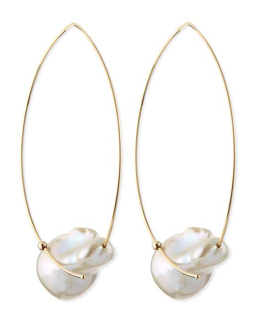 Mizuki | White 14k Gold Freshwater Pearl Earrings | Lyst