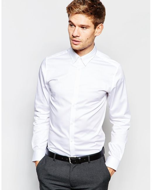 Selected shirt with concealed button down collar in slim for Slim fit white button down shirt