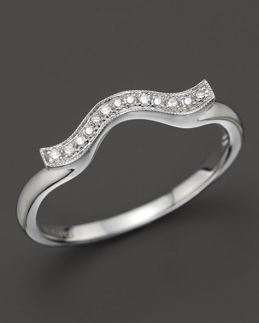 Dana Rebecca | 14k White Gold And Diamond Sylvie Rose Wave Ring | Lyst