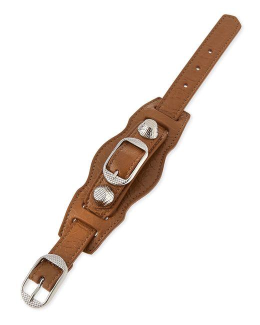 Balenciaga | Brown Giant 12 Leather Buckle Bracelet | Lyst