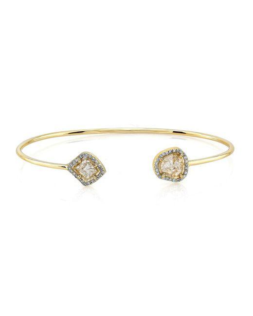 Anne Sisteron - Metallic 14kt Yellow Gold Diamond Slice Cuff - Lyst
