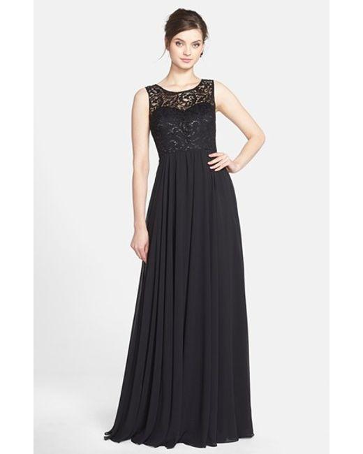Jenny Yoo | Black 'gwenyth' Metallic Lace & Chiffon Gown | Lyst