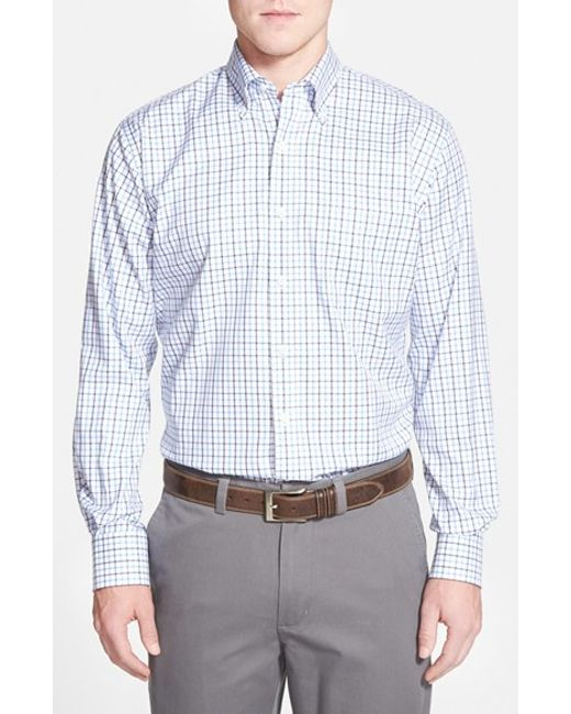 Peter Millar | Blue 'nanoluxe' Regular Fit Wrinkle Free Tattersall Twill Sport Shirt for Men | Lyst
