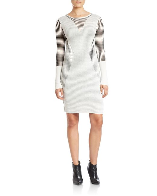 RACHEL Rachel Roy | White Striped-detail Sheath Dress | Lyst