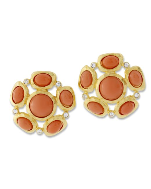 Kenneth Jay Lane | Orange Coral Cabochon Clip Earring | Lyst
