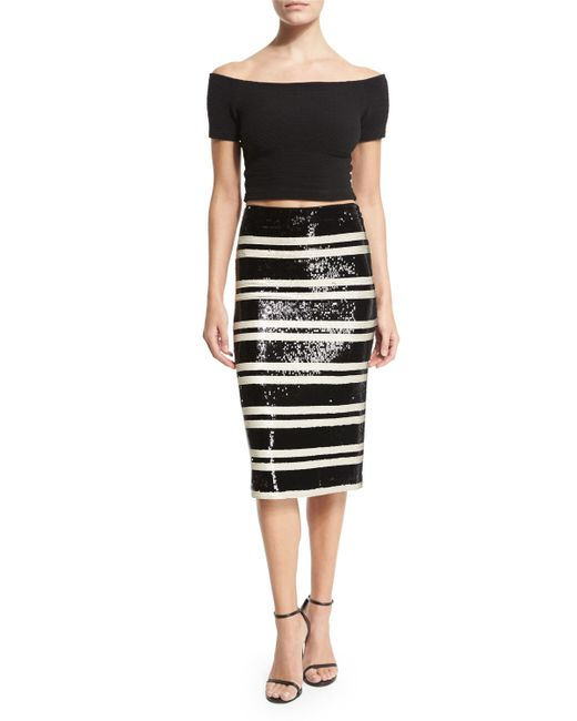 sequined striped pencil skirt in black