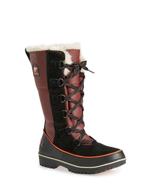 Sorel   Black Tivoli High Ii Suede Boots With Faux Fur   Lyst