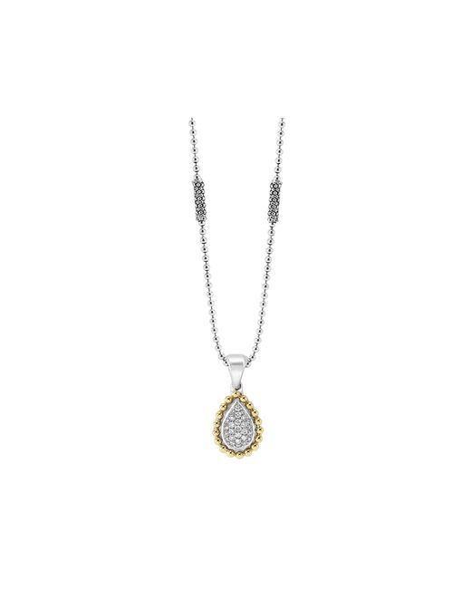 Lagos | Metallic Sterling Silver And Diamond Teardrop Pendant Necklace With 18k Gold, 16"