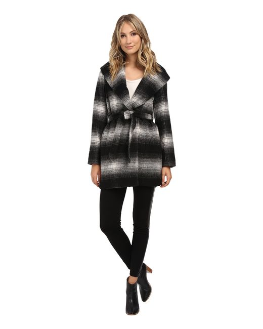 Jessica Simpson | Black Brushed Wool Wrap Coat | Lyst