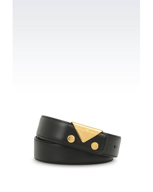 emporio armani leather belt in black save 55 lyst
