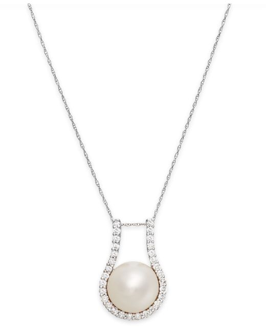 Macy's | Metallic Cultured Freshwater Pearl (11mm) And Diamond (5/8 Ct. T.w.) Pendant Necklace In 14k White Gold | Lyst