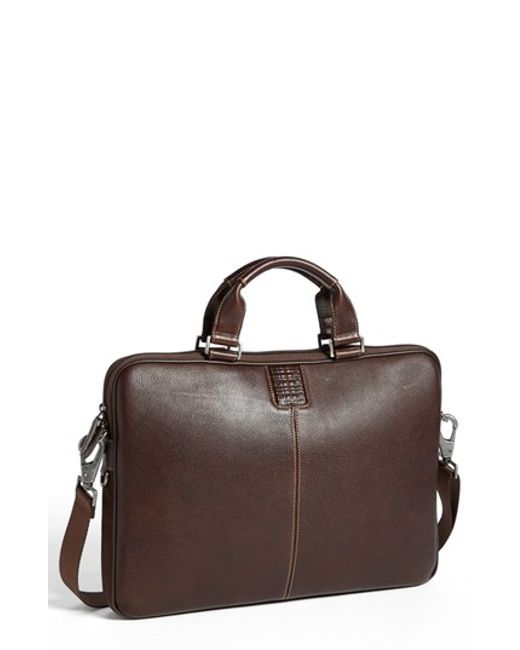 Boconi | Brown 'tyler' Leather Laptop Briefcase for Men | Lyst