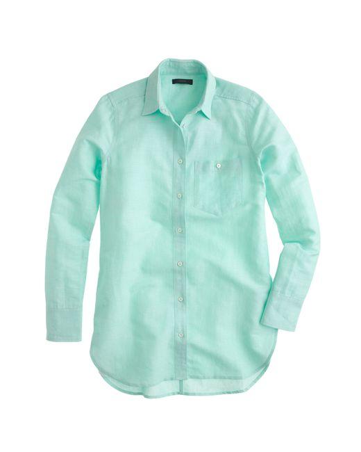 J.Crew | Blue Long Cotton-linen Boy Shirt In Crosshatch | Lyst
