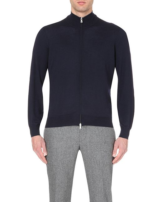 Brunello Cucinelli | Blue Zip-up Wool And Cashmere-blend Cardigan for Men | Lyst