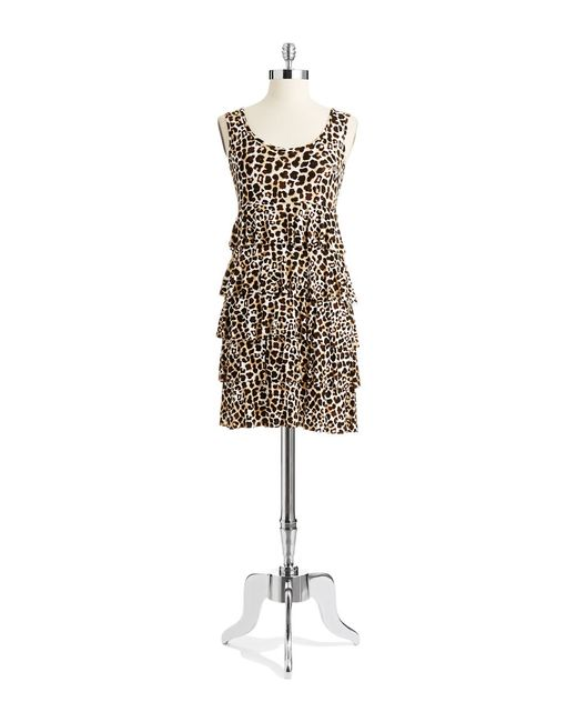 Spense | Brown Patterned Tiered Dress | Lyst