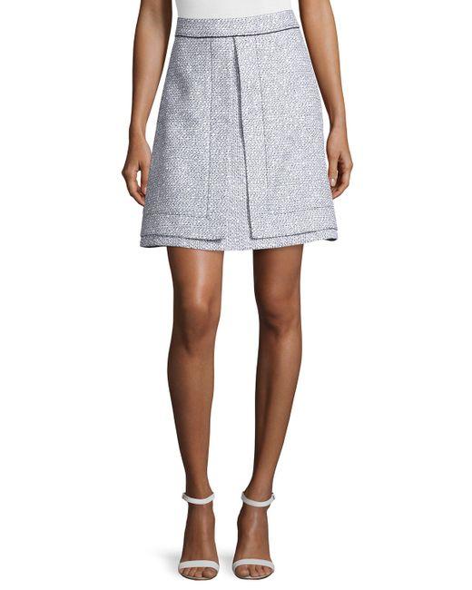 proenza schouler a line tweed suiting skirt in black