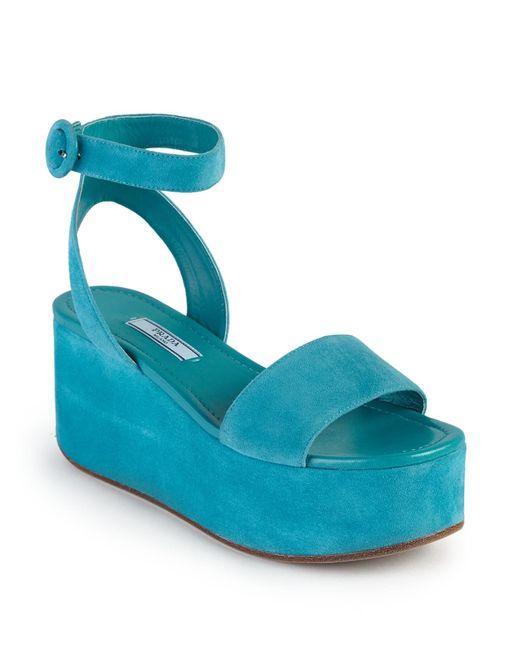 3051a9ba8a19 Prada Scalloped Suede Platform Sandals - Ontario Active School Travel