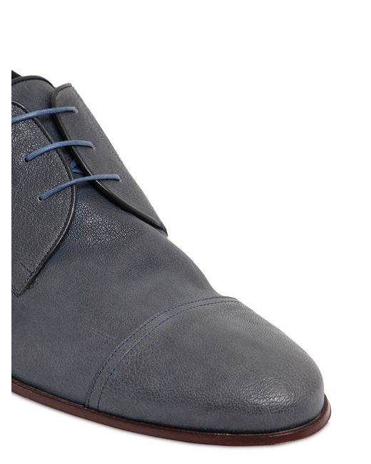 a testoni stretch buffalo leather derby shoes in blue for