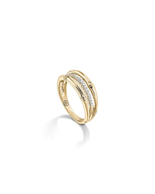 John Hardy | Metallic Bamboo 18k Yellow Gold Diamond Pavé Ring | Lyst