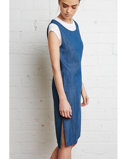 Forever 21 | Blue Zippered-back Denim Dress | Lyst