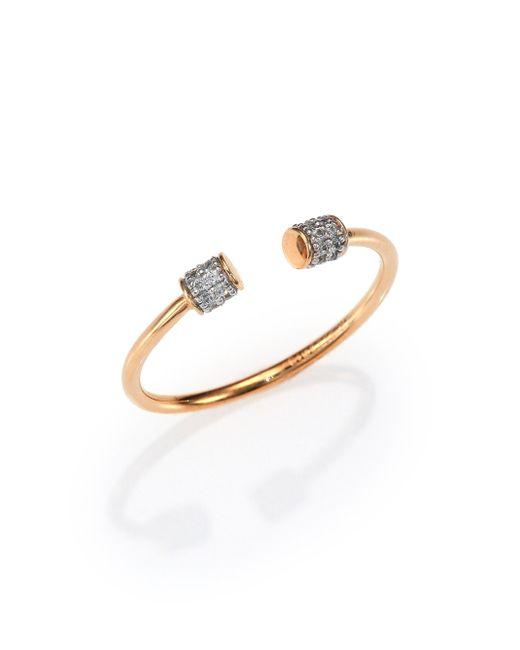 Ginette NY   Metallic Diamond & 18k Rose Gold Choker Open Ring   Lyst